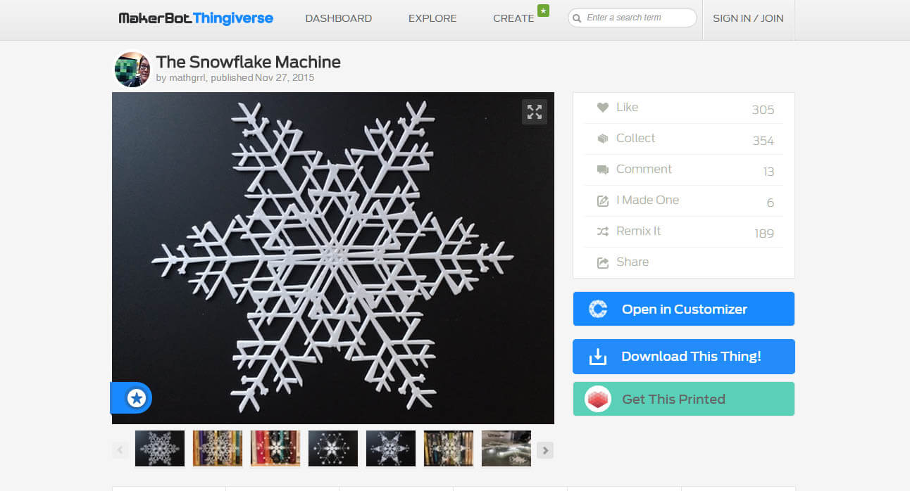 impresion3daily the snowflake machine